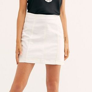 Free people white denim mini skirt xs